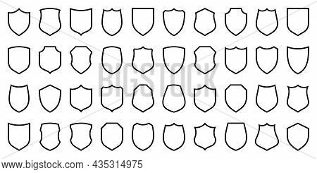 Set Of Various Vintage Shield Icons. Black Heraldic Shields. Protection And Security Symbol, Label.