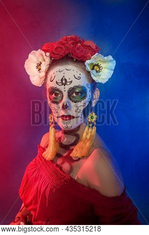 Beautiful Woman With Scary Skull Halloween Make Up Dead Day Calavera Style