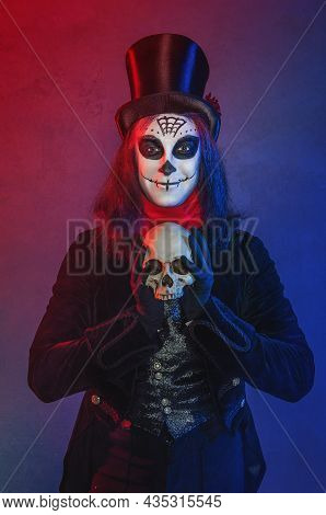 Handsome Man With Scary Halloween Make Up Dead Day Calavera Style With Skull