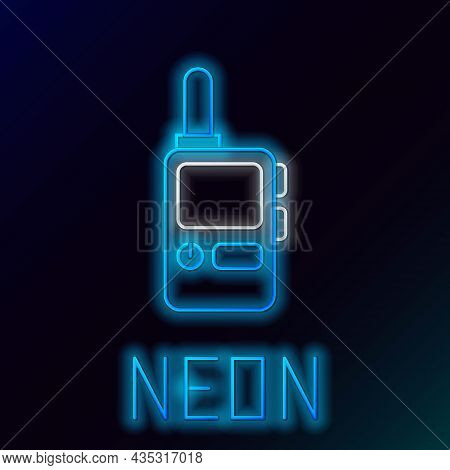 Glowing Neon Line Walkie Talkie Icon Isolated On Black Background. Portable Radio Transmitter Icon.