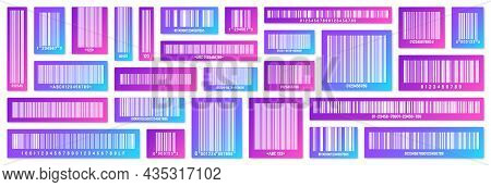 Set Of Modern Colorful Product Barcodes. Identification Tracking Code. Serial Number, Product Id Wit