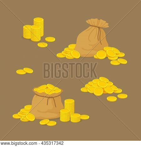 Collection Of Money Icons. Old Canvas Pouches Full Of Gold With Stacks And Piles Of Coins. Pirate Tr