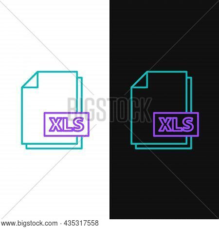 Line Xls File Document. Download Xls Button Icon Isolated On White And Black Background. Excel File