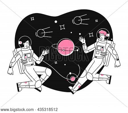 Astronaut Exploring Outer Space. Man And Woman In Spacesuits Fly In Outer Space Between Planets And