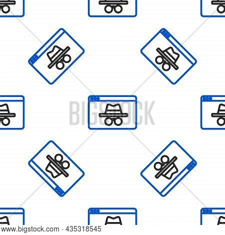 Line Browser Incognito Window Icon Isolated Seamless Pattern On White Background. Colorful Outline C
