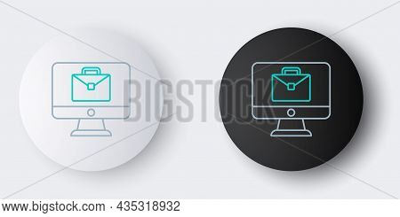 Line Online Working Icon Isolated On Grey Background. Freelancer Man Working On Laptop At His House.