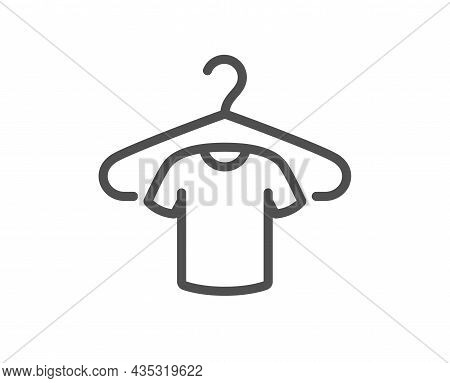 T-shirt Line Icon. Tee Shirt With Hanger Sign. Fabric Sport Wear Symbol. Quality Design Element. Lin