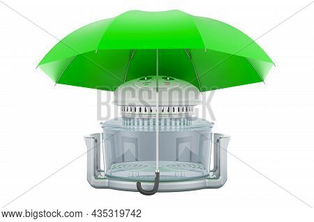 Fan-assisted Oven Under Umbrella, 3d Rendering Isolated On White Background