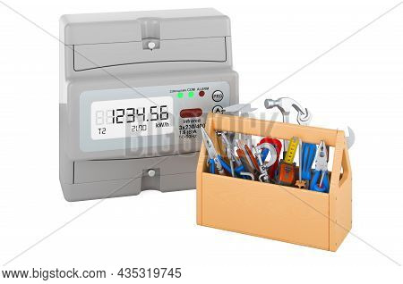 Electric Meter With Toolbox. Service And Repair Of Electric Meter. 3d Rendering Isolated On White Ba