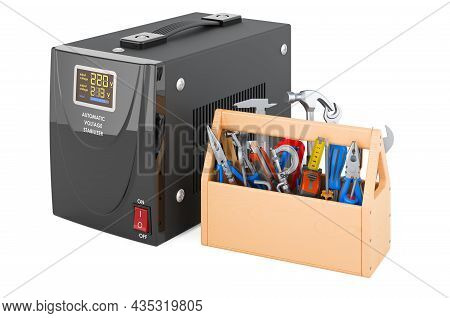 Voltage Stabilizer With Toolbox. Repair And Service Of Automatic Voltage Stabilizer, 3d Rendering Is