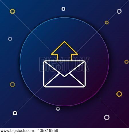Line Mail And E-mail Icon Isolated On Blue Background. Envelope Symbol E-mail. Email Message Sign. C