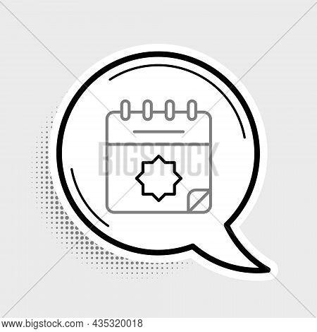 Line Ramadan Calendar Icon Isolated On Grey Background. Ramadan Kareem And Islamic Symbols. Colorful