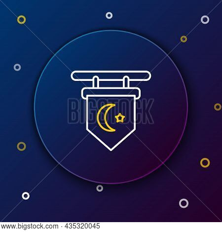 Line Star And Crescent - Symbol Of Islam Icon Isolated On Blue Background. Religion Symbol. Colorful