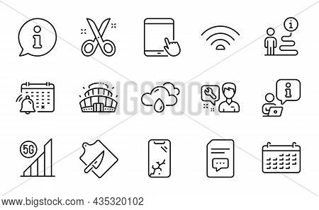 Business Icons Set. Included Icon As 5g Wifi, Cutting Board, Wifi Signs. Repairman, Calendar, Arena