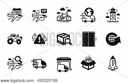Vector Set Of Tractor, Truck Delivery And Warning Icons Simple Set. Open Box, Search Package And Sel