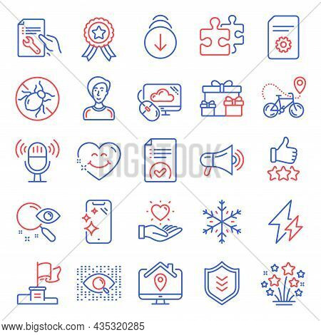 Business Icons Set. Included Icon As Smile Face, Snowflake, Surprise Boxes Signs. Hold Heart, Search