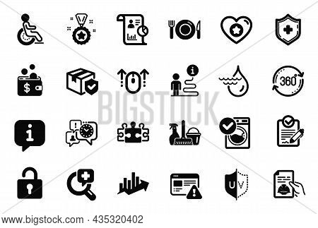 Vector Set Of Business Icons Related To Heart, Time Management And Rfp Icons. Internet Warning, Parc