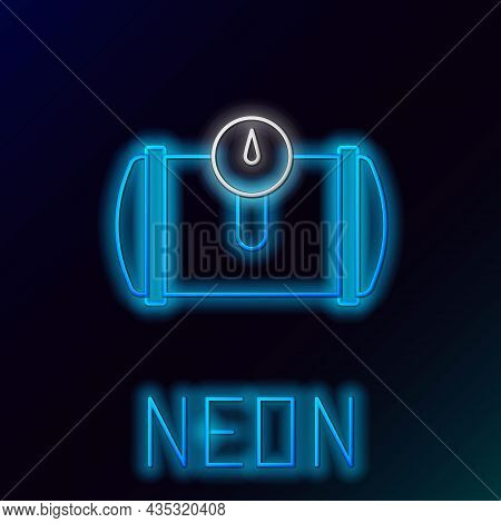 Glowing Neon Line Gas Tank For Vehicle Icon Isolated On Black Background. Gas Tanks Are Installed In
