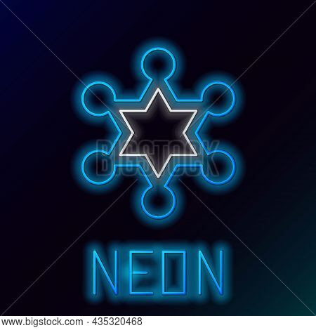 Glowing Neon Line Hexagram Sheriff Icon Isolated On Black Background. Police Badge Icon. Colorful Ou