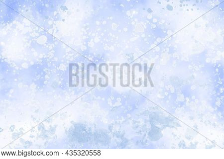 Winter Snow Watercolor Background. White Abstract Vector Texture. Blue Sky With Falling Snow, Snowfl