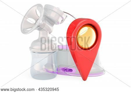 Electrical Breast Pump With Map Pointer. 3d Rendering Isolated On White Background