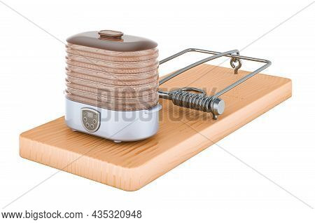 Food Dehydrator Inside Mousetrap, 3d Rendering Isolated On White Background