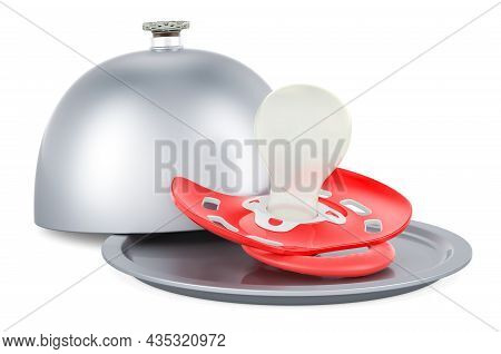 Restaurant Cloche With Baby Pacifier, 3d Rendering Isolated On White Background
