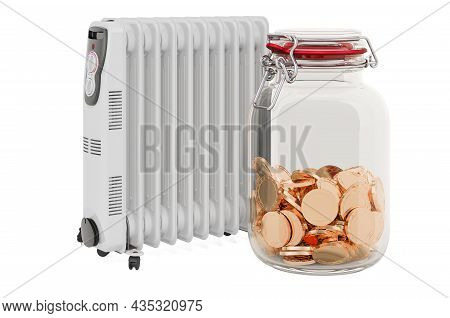 Oil Heater With Glass Jar Full Of Golden Coins, 3d Rendering Isolated On White Background