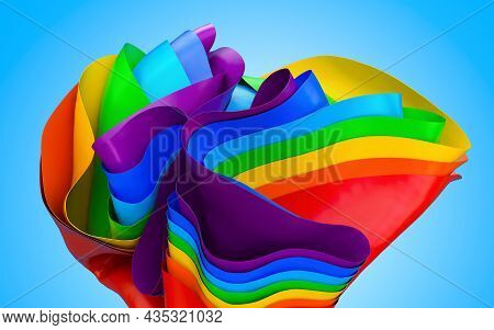 Abstract Rainbow Colored Background, Waves Wallpaper. 3d Rendering