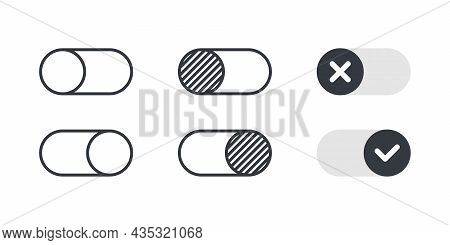 Switch Icons. On And Off Toggle Switch Buttons. Toggle Element For Mobile App, Web Design, Animation