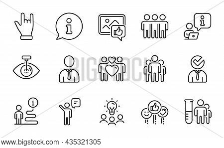 People Icons Set. Included Icon As Like, Eye Laser, Agent Signs. Horns Hand, Group, Vacancy Symbols.