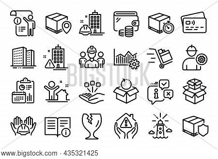 Vector Set Of Engineering Team, Push Cart And Lighthouse Line Icons Set. Calendar Report, Money Wall