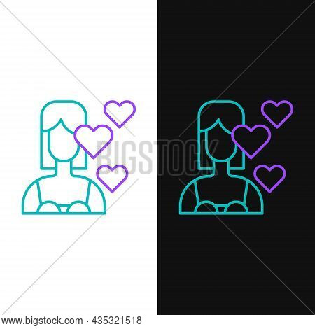 Line Love Yourself Icon Isolated On White And Black Background. Self Love. Self Care And Happiness.