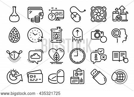 Vector Set Of Usb Stick, Medical Mask And Local Grown Line Icons Set. Calendar Report, Money Wallet