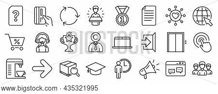 Set Of Line Icons, Such As Search Package, Recycling, Waiting Icons. Copyrighter, Victory, Dating Ne