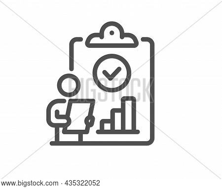 Inspect Line Icon. Quality Research Sign. Verification Report List Symbol. Quality Design Element. L