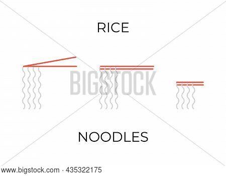 Chopsticks Holding Rice Noodles Icons Set. Rice Noodles Different Illustrations Collection For Resta