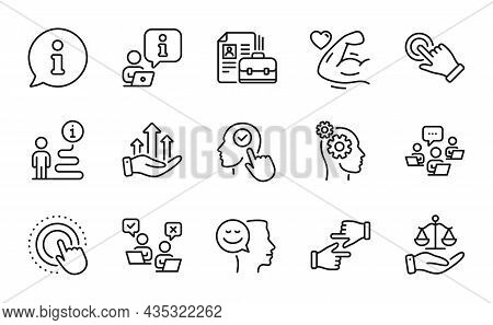 People Icons Set. Included Icon As Select User, Growth Chart, Strong Arm Signs. Thoughts, Touchscree