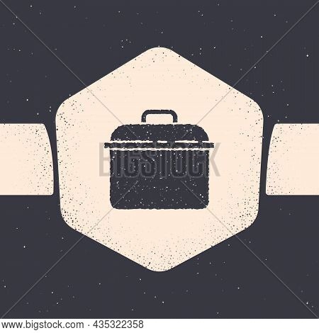 Grunge Cooking Pot Icon Isolated On Grey Background. Boil Or Stew Food Symbol. Monochrome Vintage Dr
