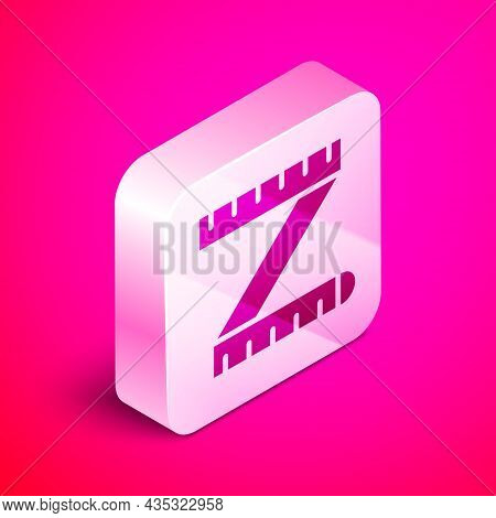 Isometric Tape Measure Icon Isolated On Pink Background. Measuring Tape. Silver Square Button. Vecto
