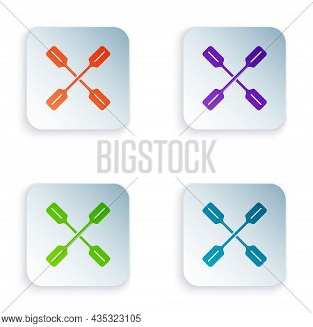 Color Paddle Icon Isolated On White Background. Paddle Boat Oars. Set Colorful Icons In Square Butto