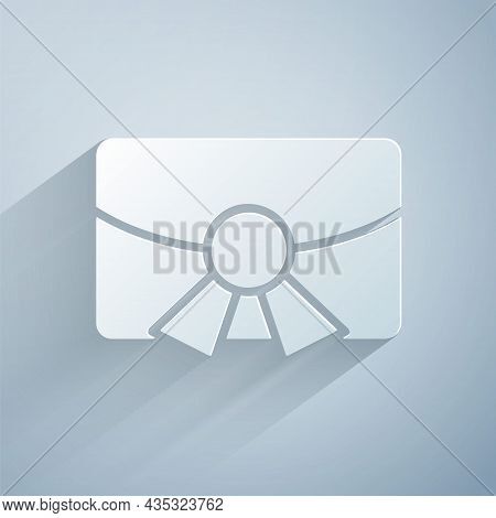 Paper Cut Christmas Postcard Icon Isolated On Grey Background. Merry Christmas And Happy New Year. P