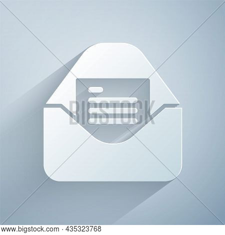 Paper Cut Envelope With Christmas Party Invitation Card Icon Isolated On Grey Background. Merry Chri
