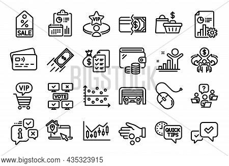 Vector Set Of Work Home, Sale Coupon And Parking Garage Line Icons Set. Calendar Report, Money Walle