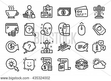 Vector Set Of Growth Chart, Banking And Attraction Line Icons Set. Calendar Report, Money Wallet And