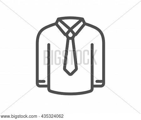 Shirt Line Icon. Male Dress Shirt Sign. Business Wear Symbol. Quality Design Element. Line Style Shi