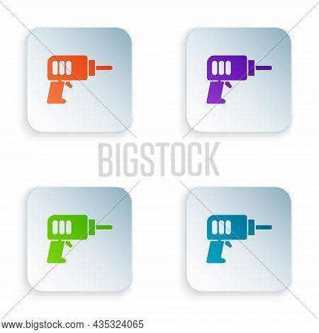 Color Electric Drill Machine Icon Isolated On White Background. Repair Tool. Set Colorful Icons In S