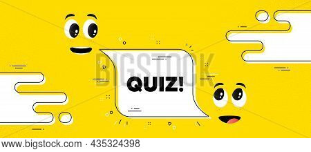 Quiz Text. Cartoon Face Chat Bubble Background. Answer Question Sign. Examination Test Symbol. Quiz