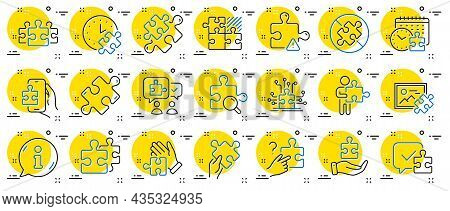 Puzzle Line Icons. Jigsaw Challenge Time, Business Strategy, Puzzle Pieces Icons. Solution, Decide O