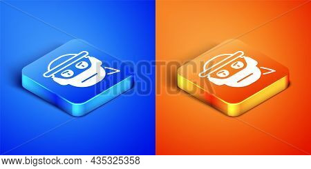 Isometric Bandit Icon Isolated On Blue And Orange Background. Square Button. Vector